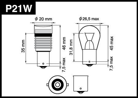 P21W специальная линза 360° белый